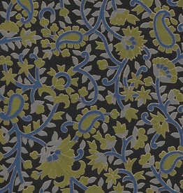 "Garden Flowers with Paislies, Blue, Olive, Gold on Black, 22"" x 30"""