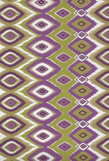 "Diamond Feather Design, Olive, Purple and Gold on White, 22"" x 30"""