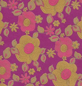 """India Daisy Chain, Pink, Yellow Ochre with Gold Lines on Purple, 22"""" x 30"""""""