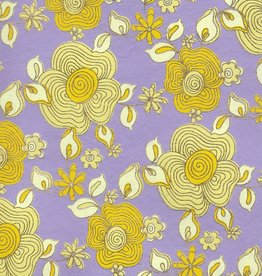 """India Daisy Chain, Yellows with Gold Lines on Purple, 22"""" x 30"""""""