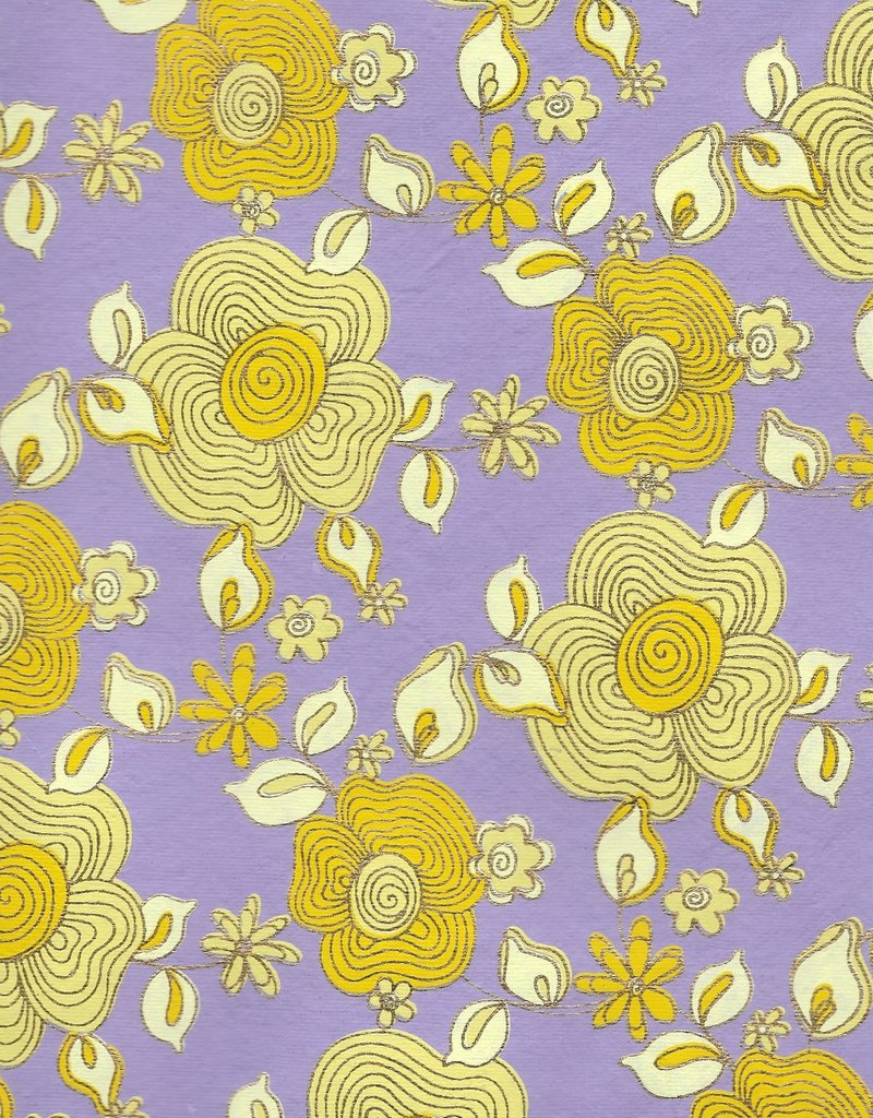 """Daisy Chain, Yellows with Gold Lines on Purple, 22"""" x 30"""""""