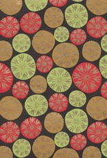 "Dandelion Bubbles, Red, Lime Green, Tan with Gold Lines on Brown, 22"" x 30"""