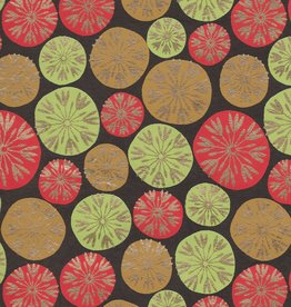"Dandilion Bubbles, Red, Lime Green, Tan with Gold Lines on Brown, 22"" x 30"""