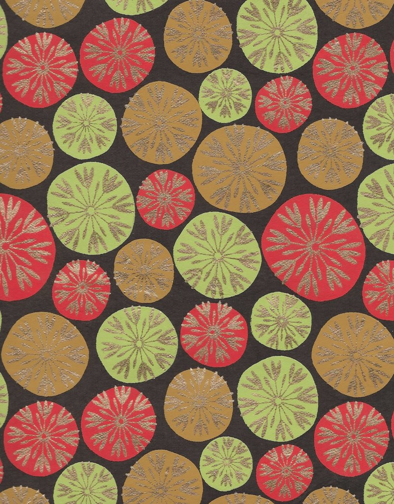 """Dandilion Bubbles, Red, Lime Green, Tan with Gold Lines on Brown, 22"""" x 30"""""""