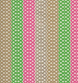 "India Diamond Lattice Stripes, Pink, Green, Gold on Cream, 22"" x 30"""
