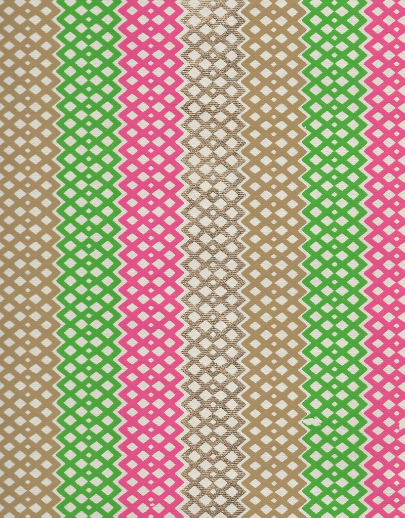 "Diamond Lattice Stripes, Pink, Green, Gold on Cream, 22"" x 30"""