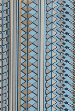 "Egyptian Diamond Design, Blue, Grey, Gold on Blue, 22"" x 30"""