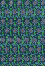 "Evergreen Ocean Diamond, Green, Blue, with Gold on Black, 22"" x 30"""