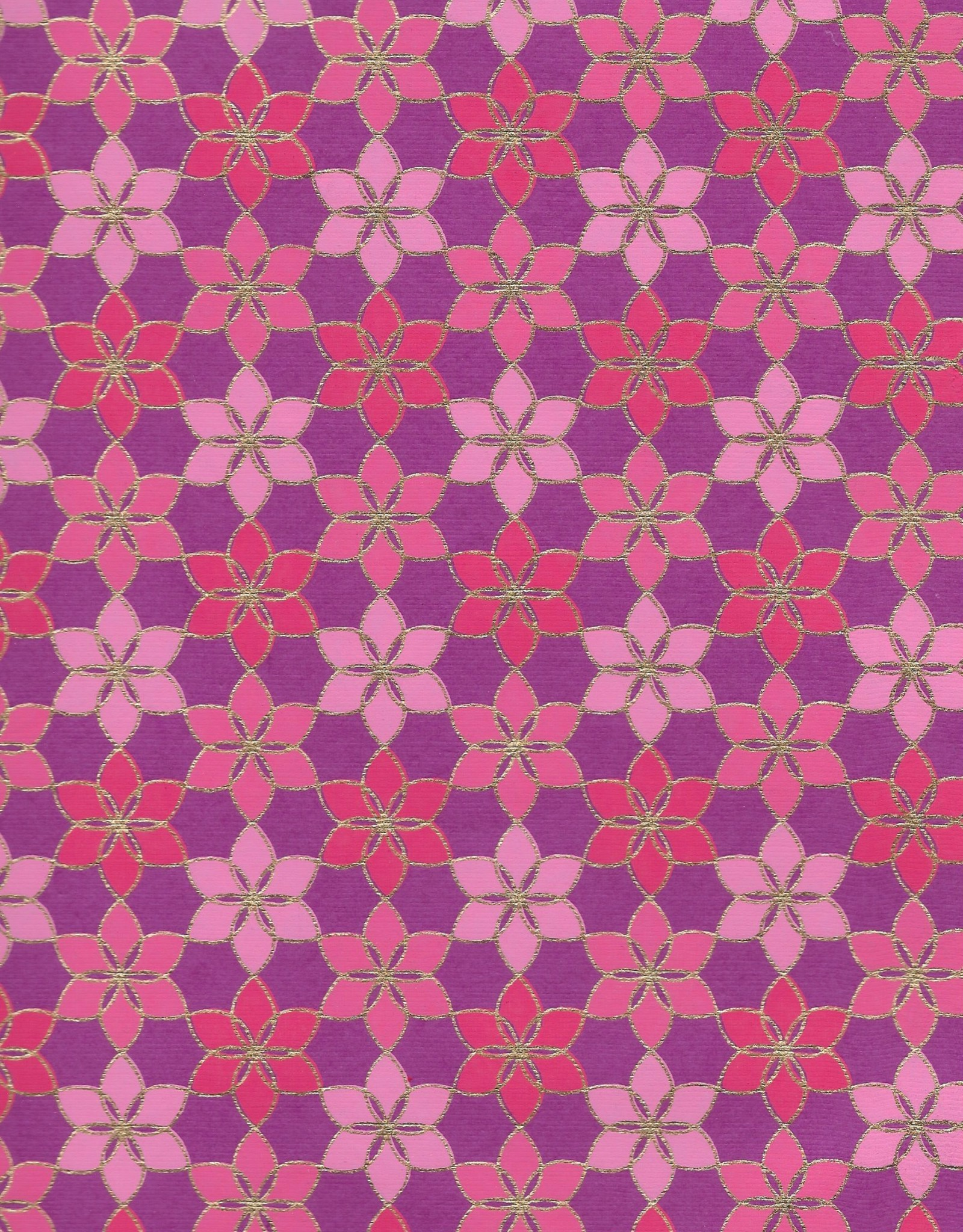 "Mosaic Daisy Pattern, Pink, Magenta with Gold Lines on Purple, 22"" x 30"""