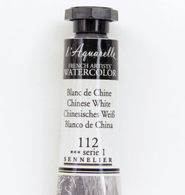France Sennelier, Aquarelle Watercolor Paint, Chinese White, 112, 10ml Tube, Series 1