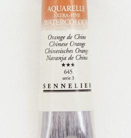 France Sennelier, Aquarelle Watercolor Paint, Chinese Orange, 645, 10ml Tube, Series 3