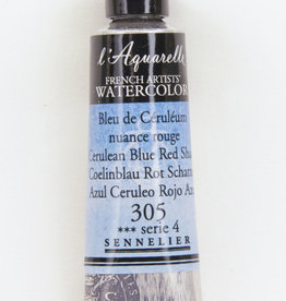 France Sennelier, Aquarelle Watercolor Paint, Cerulean Blue, Red Shade, 305, 10ml Tube, Series 4
