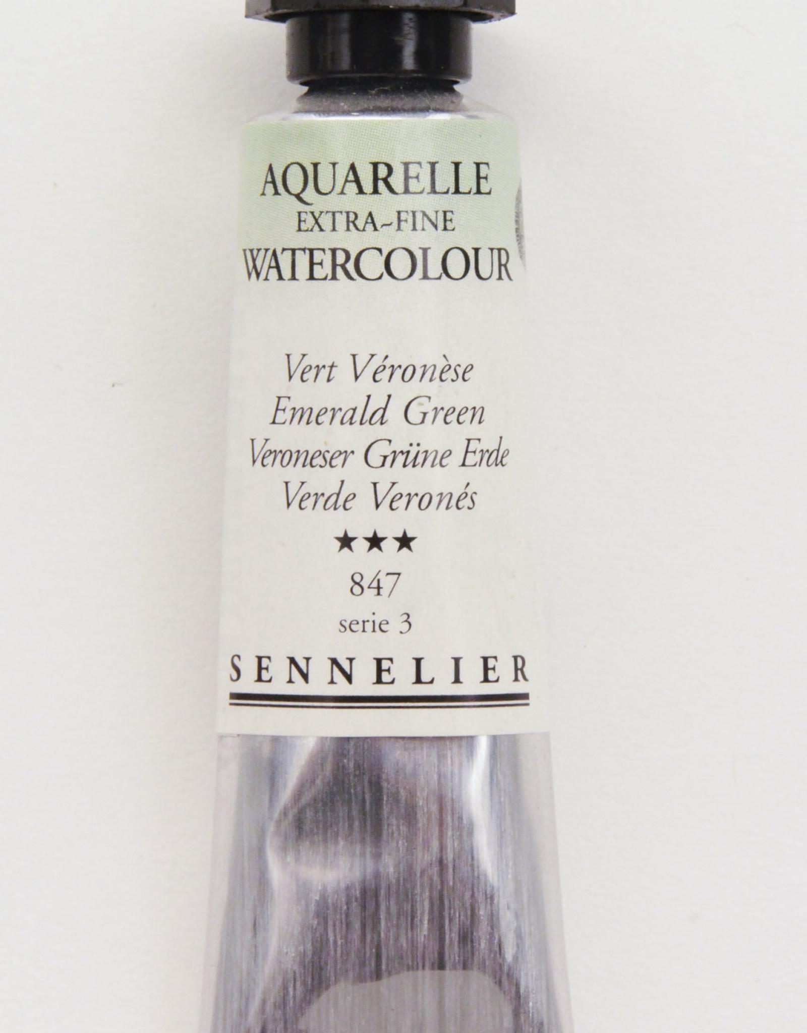 Sennelier, Aquarelle Watercolor Paint, Emerald Green, 847, 10ml Tube, Series 3