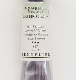 Sennelier, Aquarelle Watercolor Paint, Emerald Green, 847, 10ml Tube, Series 3