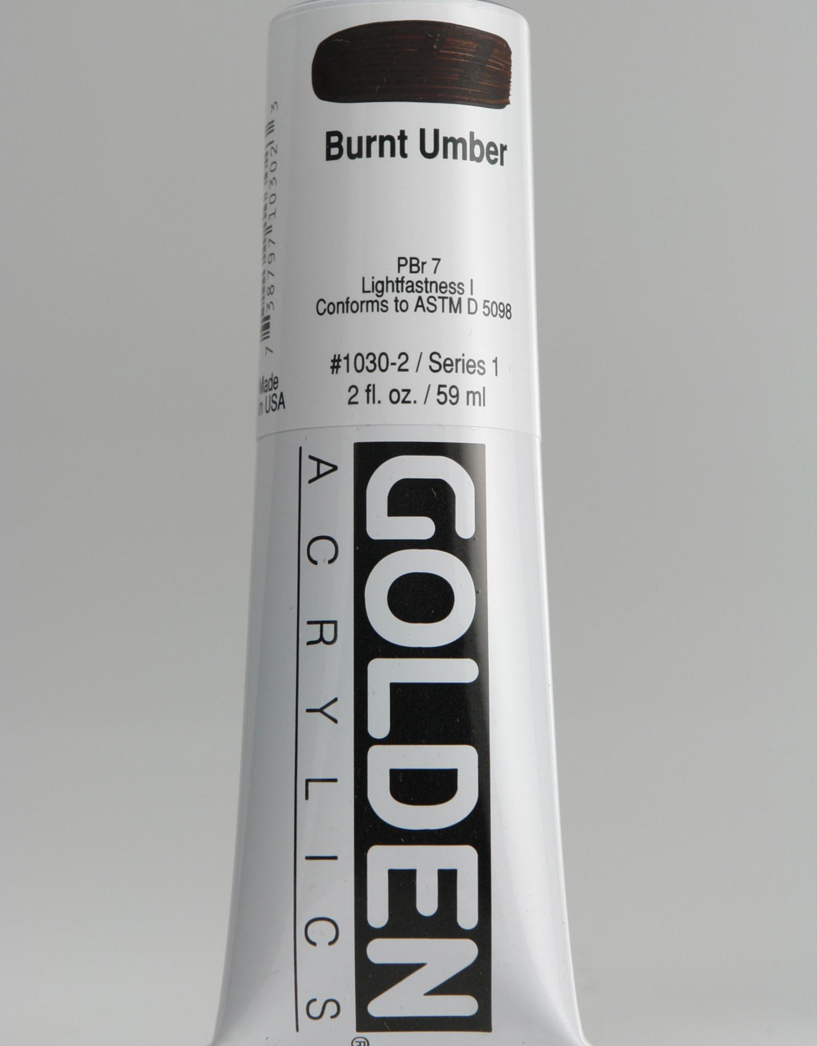 Golden, Heavy Body Acrylic Paint, Burnt Umber, Series 1, Tube, 2fl.oz.
