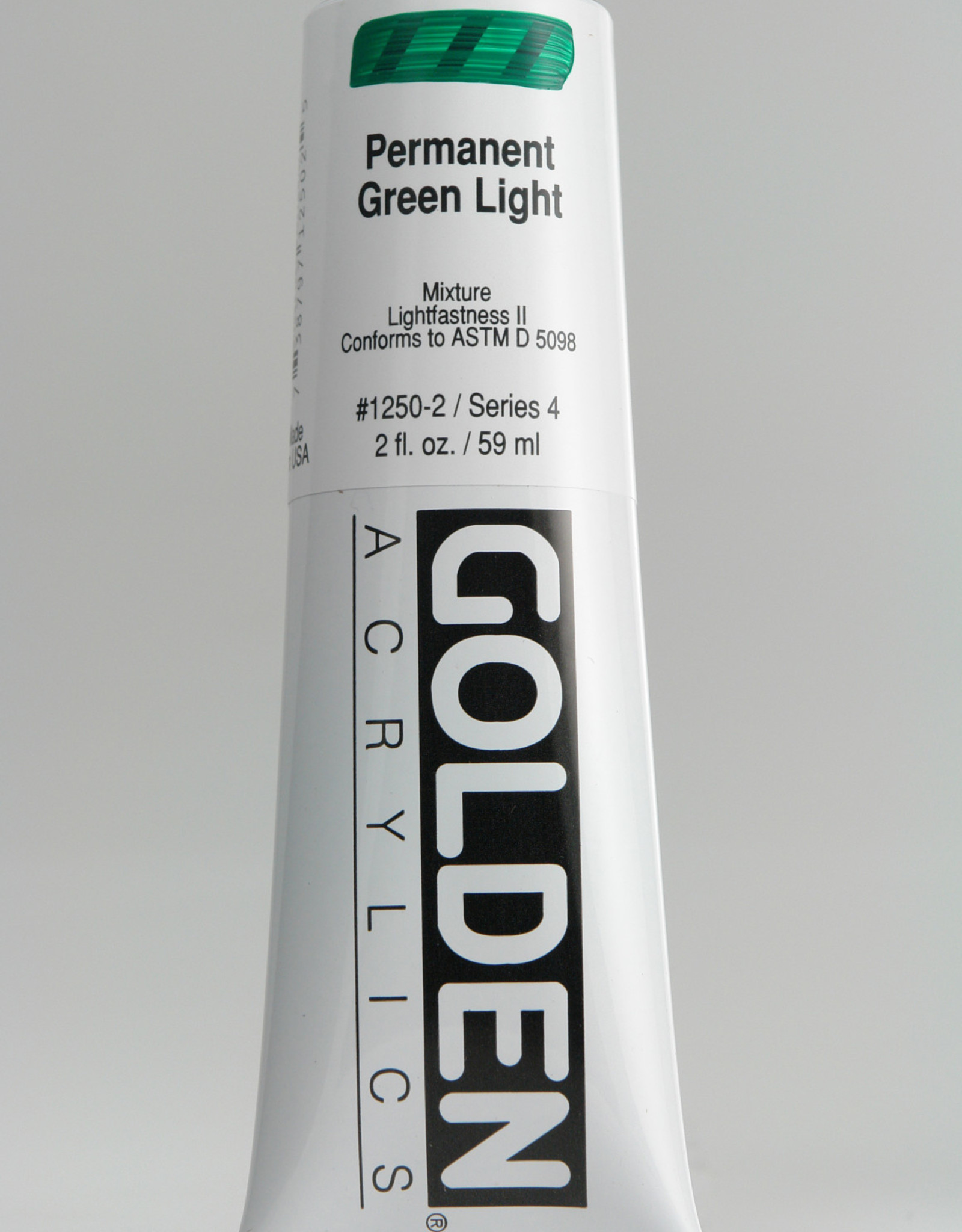 Golden, Heavy Body Acrylic Paint, Permanent Green Light, Series 4, Tube, 2fl.oz.