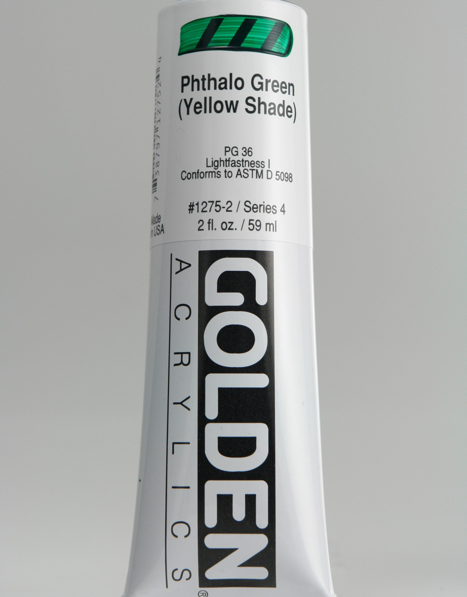 Golden, Heavy Body Acrylic Paint, Phthalo Green (Yellow Shade), Series 4, Tube, 2fl.oz.