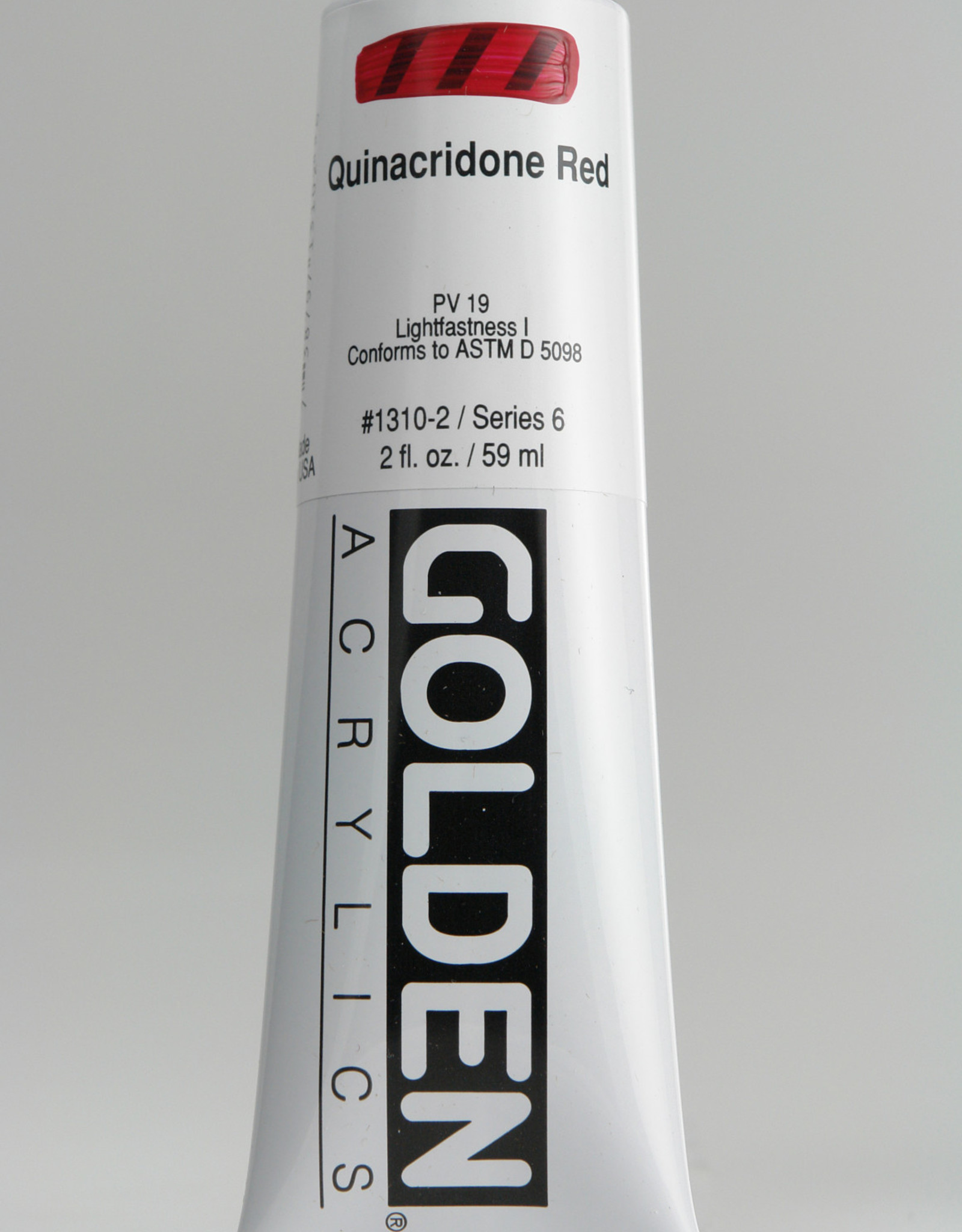 Golden, Heavy Body Acrylic Paint, Quinacridone Red, Series 6, Tube, 2fl.oz.