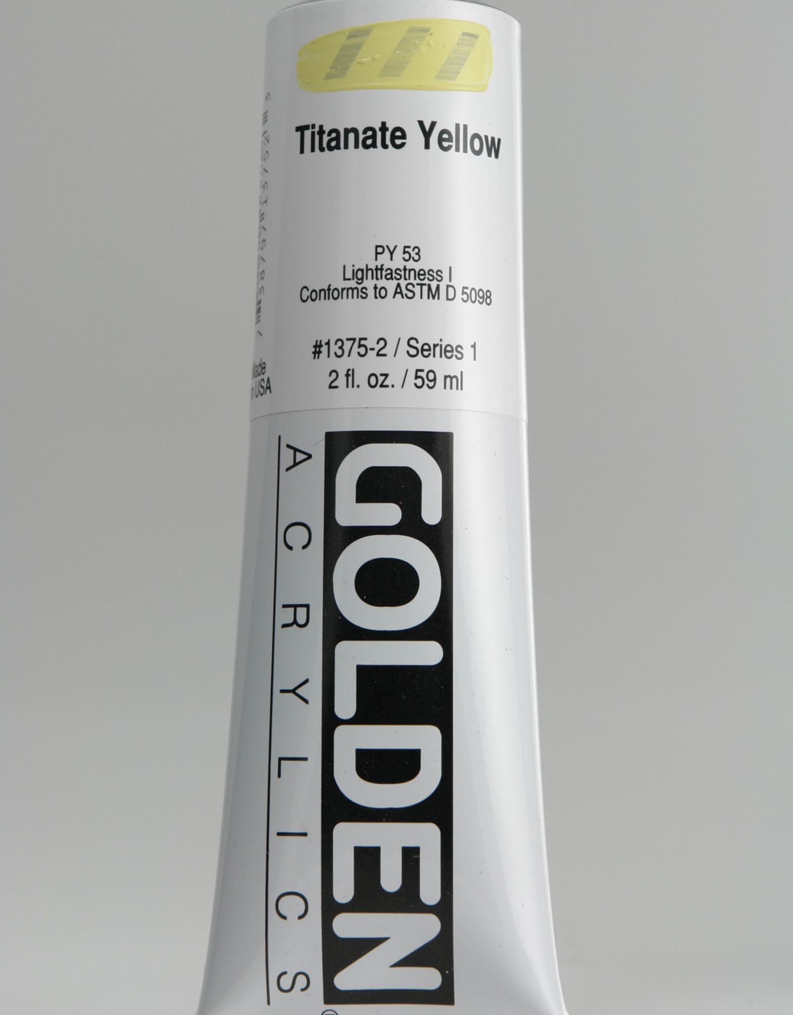 Golden, Heavy Body Acrylic Paint, Titanate Yellow, Series 1, Tube, 2fl.oz.