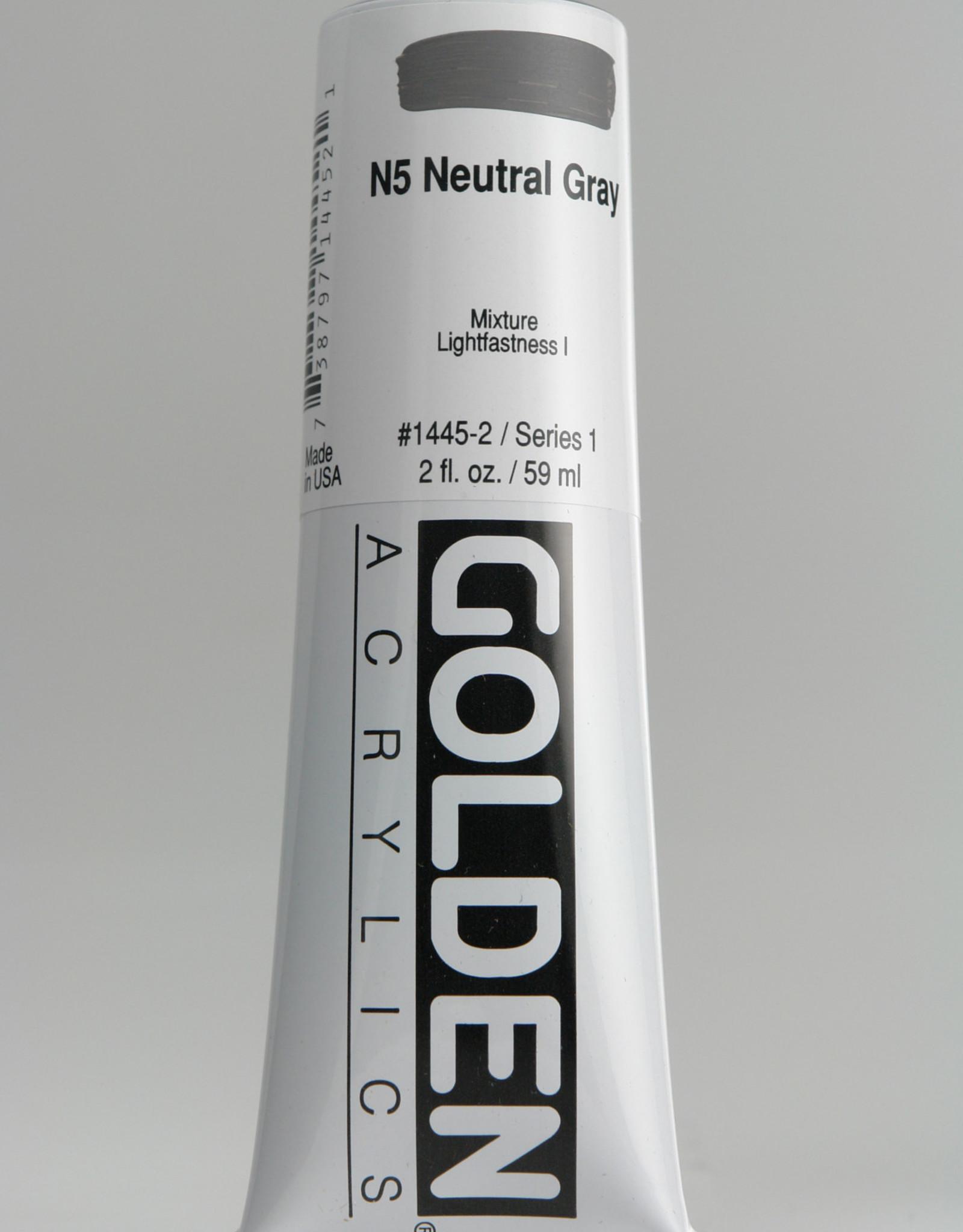 Golden, Heavy Body Acrylic Paint, Neutral Gray N5, Series 1, Tube, 2fl.oz.