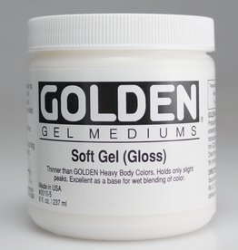 Domestic Golden, Soft Gel Medium, Gloss,  8oz Jar