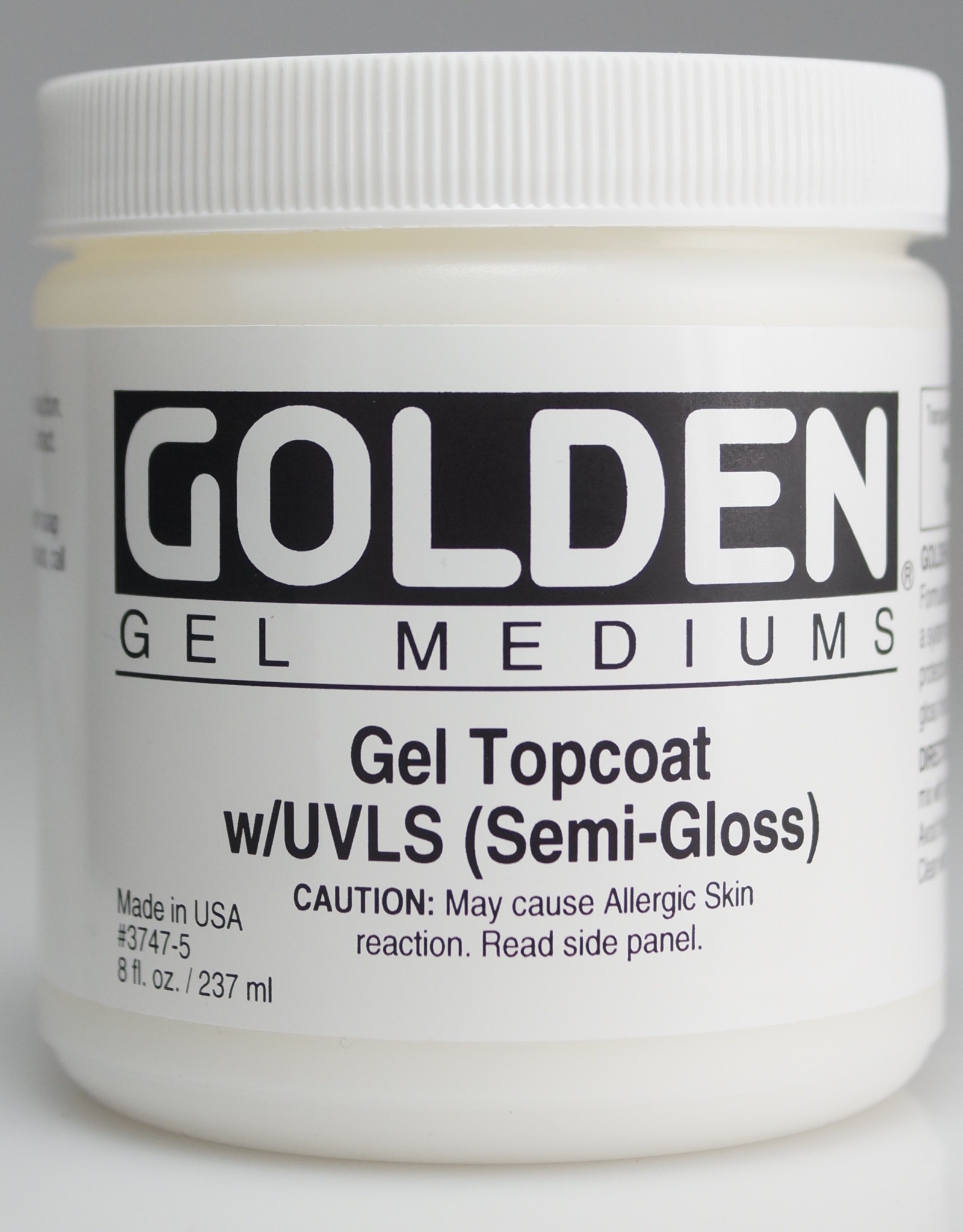Golden, Medium, Gel Topcoat w/ UVLS, Semi-Gloss,  8 Fl Oz.
