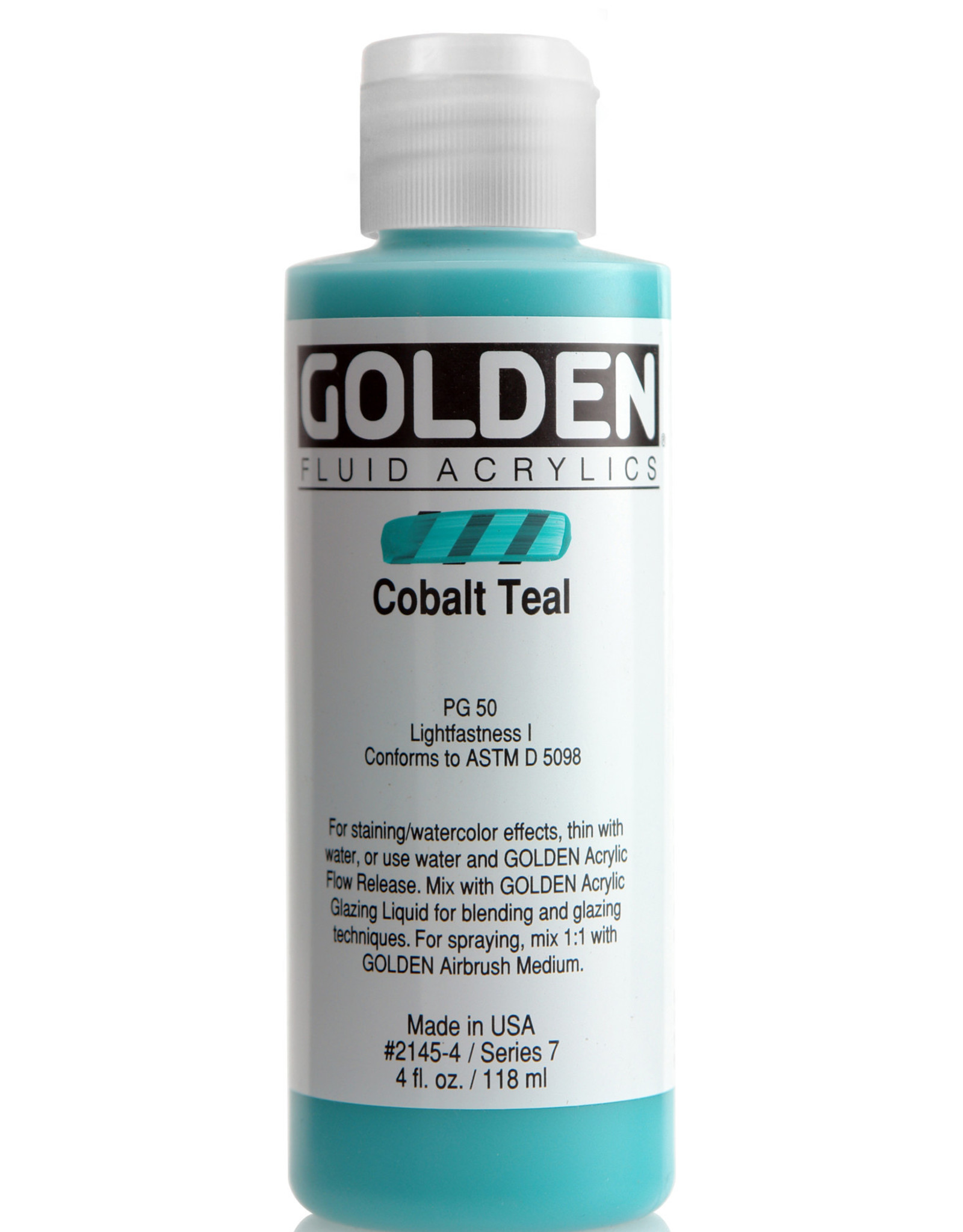 Golden Fluid Acrylic Paint, Cobalt Teal, Series 7, 4fl.oz, Bottle