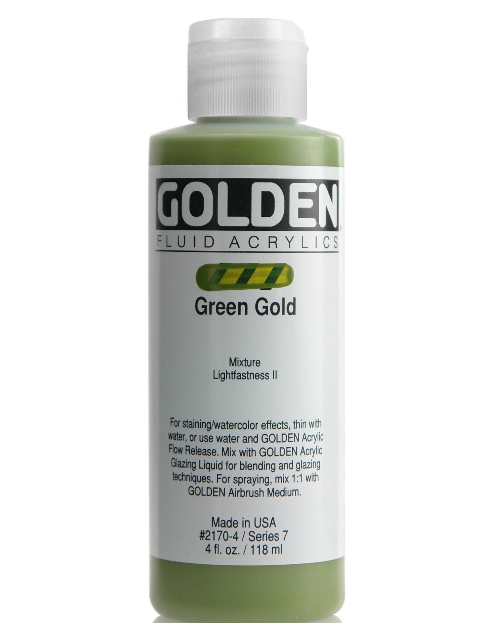 Golden Fluid Acrylic Paint, Green Gold, Series 7, 4fl.oz, Bottle
