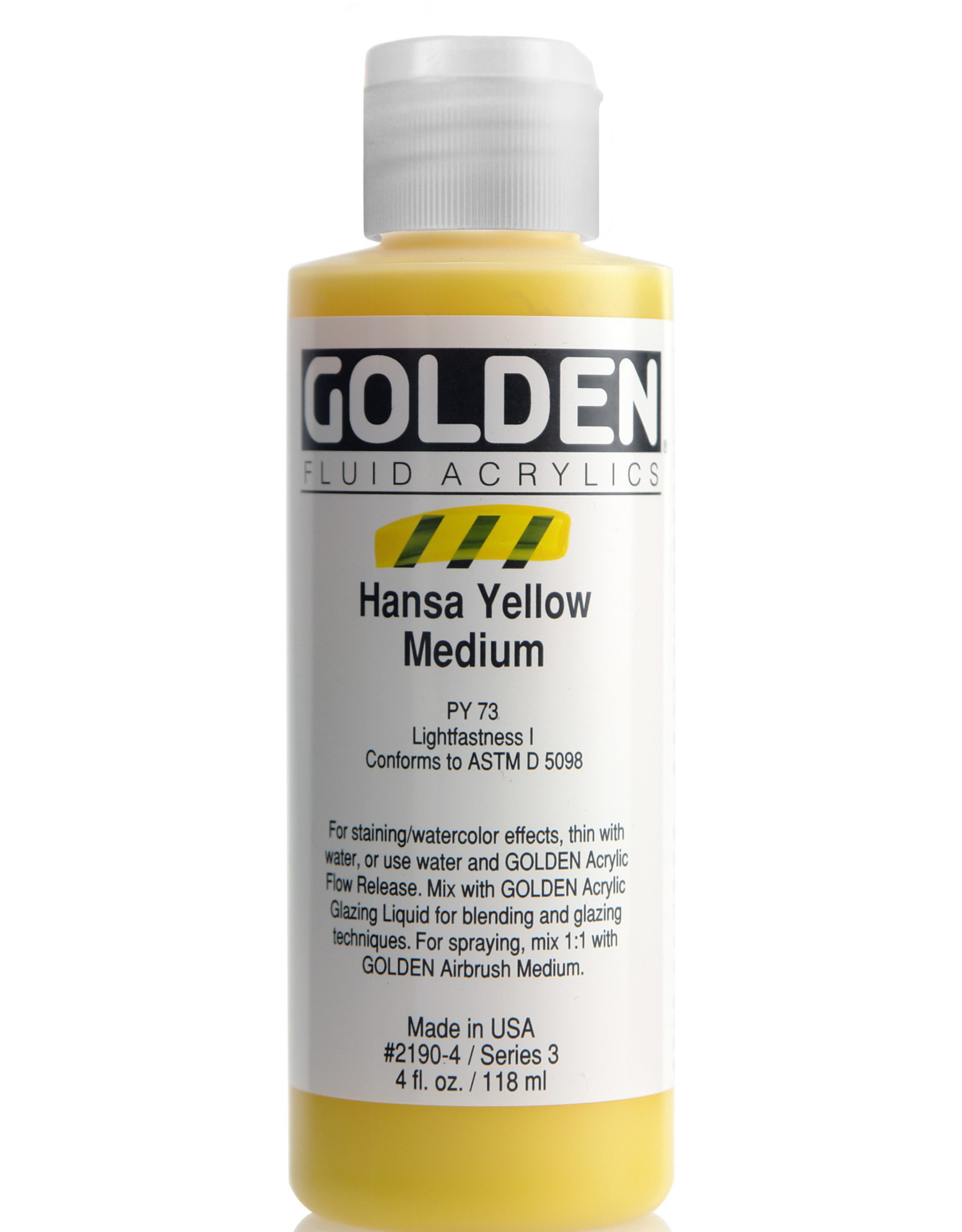 Golden Fluid Acrylic Paint, Hansa Yellow Medium, Series 3, 4fl.oz, Bottle