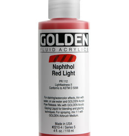 Golden Fluid Acrylic Paint, Napthol Red Light, Series 5, 4fl.oz, Bottle