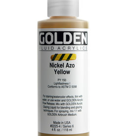 Golden Fluid Acrylic Paint, Nickel Azo Yellow, Series 6, 4fl.oz, Bottle