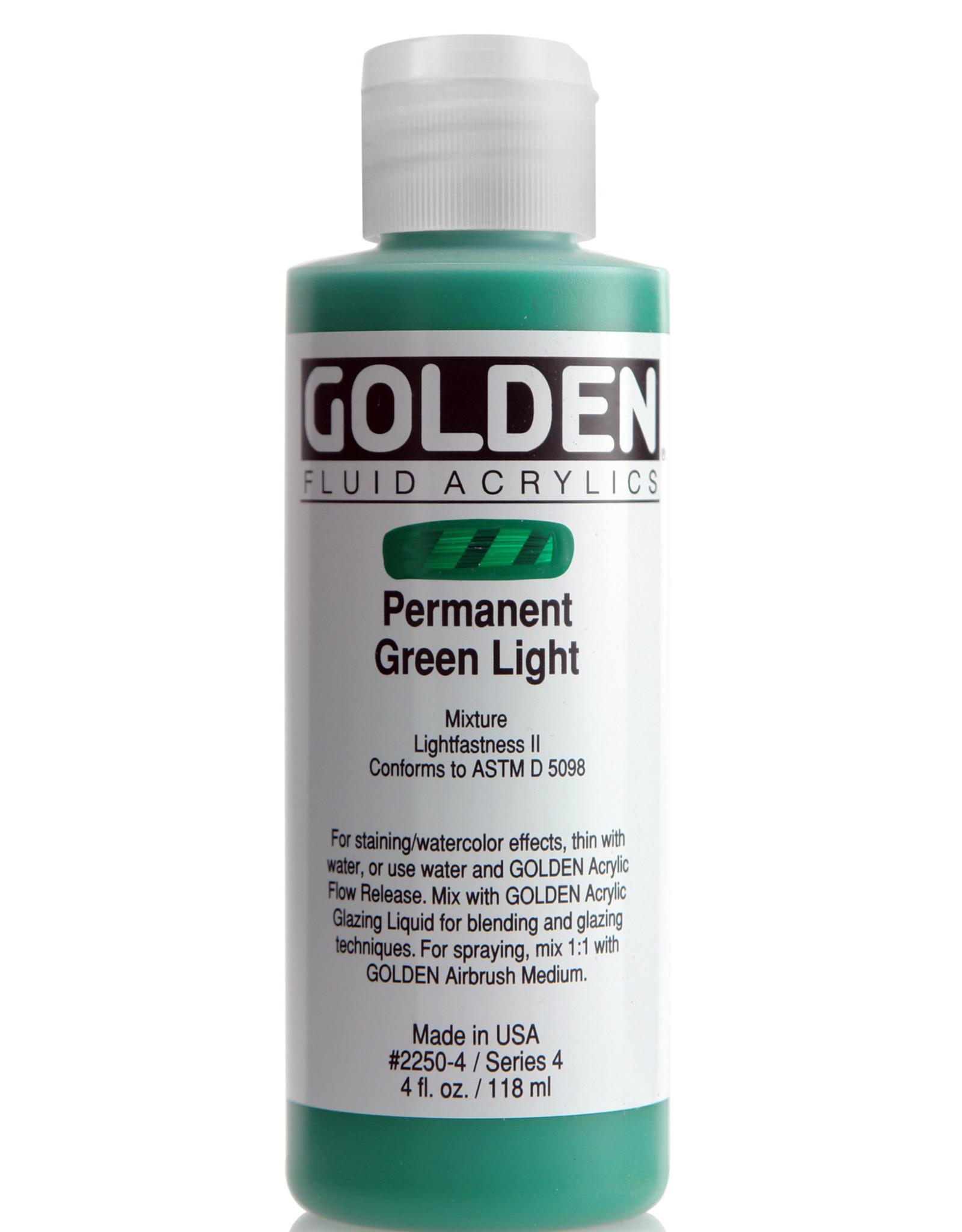 Golden Fluid Acrylic Paint, Permanent Green Light, Series 4, 4fl.oz, Bottle