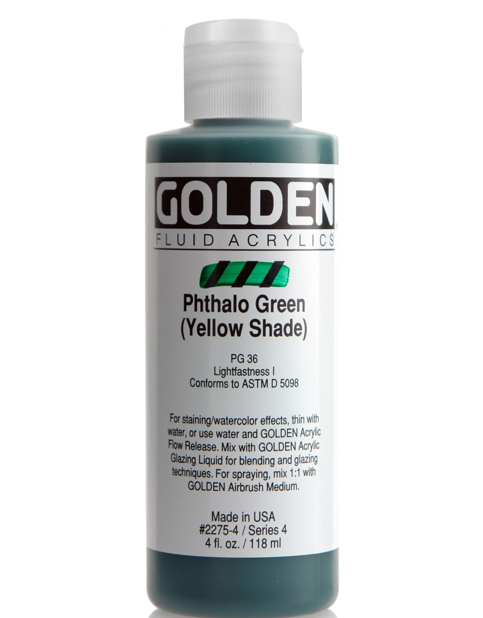 Golden Fluid Acrylic Paint, Phthalo Green (Yellow Shade), Series 4, 4fl.oz, Bottle