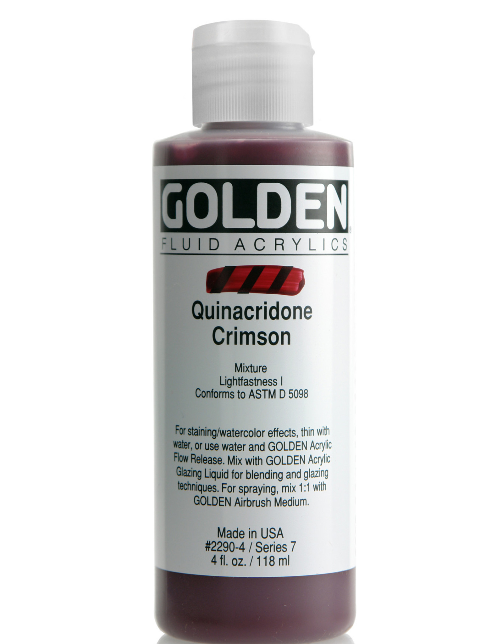 Golden Fluid Acrylic Paint, Quinacridone Crimson, Series 7, 4fl.oz, Bottle