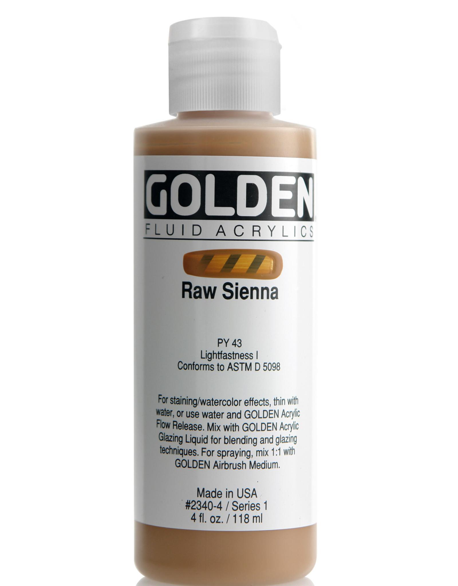 Golden Fluid Acrylic Paint, Raw Sienna, Series 1, 4fl.oz, Bottle
