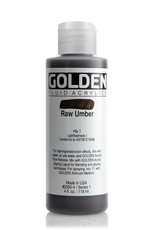 Golden Fluid Acrylic Paint, Raw Umber, Series 1, 4fl.oz, Bottle