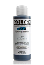 Golden Fluid Acrylic Paint, Turquois (Phthalo), Series 4, 4fl.oz, Bottle