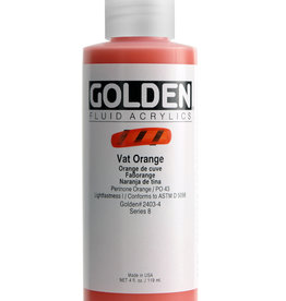 Golden Fluid Acrylic Paint, Vat Orange, Series 8, 4fl.oz, Bottle