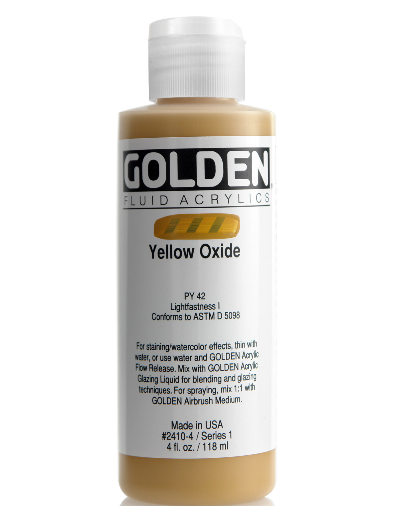 Golden Fluid Acrylic Paint, Yellow Oxide, Series 1, 4fl.oz, Bottle