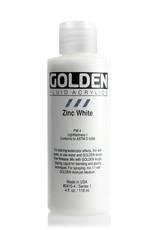 Golden Fluid Acrylic Paint, Zinc White, Series 1, 4fl.oz, Bottle