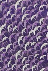 "Japanese Yuzen 1037, Purple Cranes, 19"" x 25"""