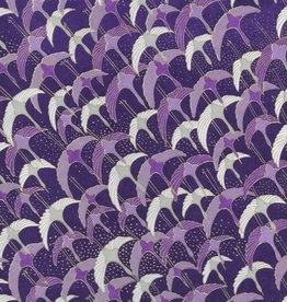 "Japanese Yuzen 1037, Purple Cranes, 19"" x 25"""