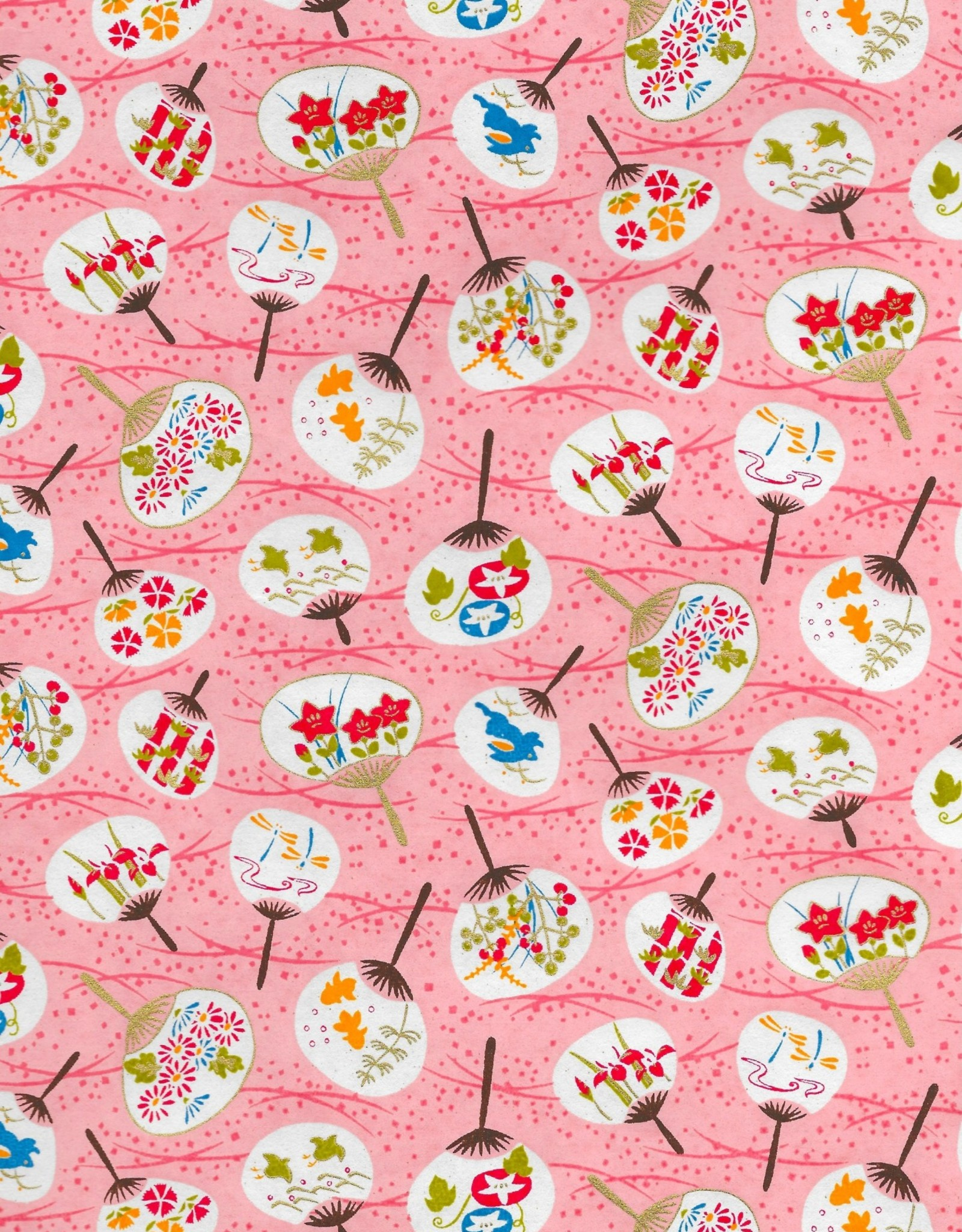 """Japanese Yuzen 7546, Uchiwa on Pink, 19"""" x 25"""""""