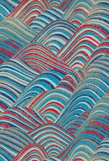 "Japanese Yuzen 3556, Blue and Red Wave with Gold Ocean Spray, 19"" x 25"""