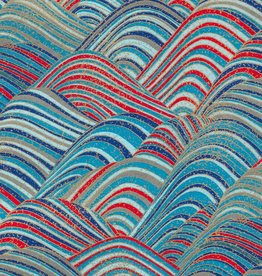 "Japan Yuzen 3556, Blue and Red Wave with Gold Ocean Spray, 19"" x 25"""