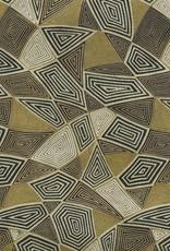"Japanese Yuzen 4606, Triangles: Black, White, Gold, 19"" x 25"""