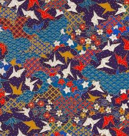 "Japanese Yuzen 3760, Origami Cranes, 19"" x 25"""