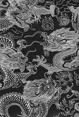 "Dragon Beasts, White on Black, 20"" x 30"""