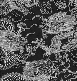 "Dragon Beasts, White on Black, 20"" x 30"""