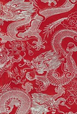 """Nepal Dragon Beasts, White on Red, 20"""" x 30"""""""